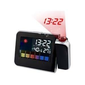 夜中にも見やすい プロジェクター 投影 日本語説明書 付き 時計 デジタル 天気 スヌーズ 目覚まし アラーム 温度計 カレンダー ブラック