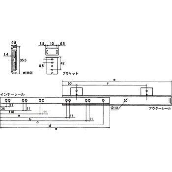 天板付スライドレール ユニクロ 300 K1500-300