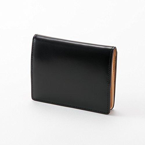 本革 小銭入れ コードバン コインケース 小さい財布 カードケース ボックス型 レザー 馬革 メンズ レディース (ブラック)