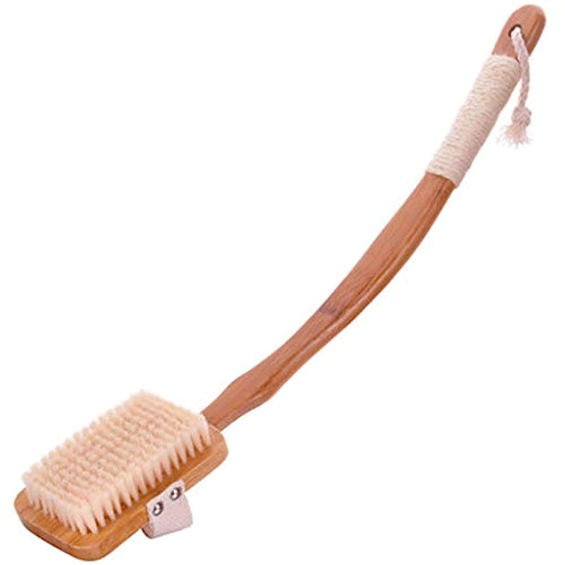 キャスト中絶ディスパッチバスブラシバックブラシロングハンドルやわらかい毛髪バスブラシバスブラシ角質除去クリーニングブラシ (Color : Wood color)