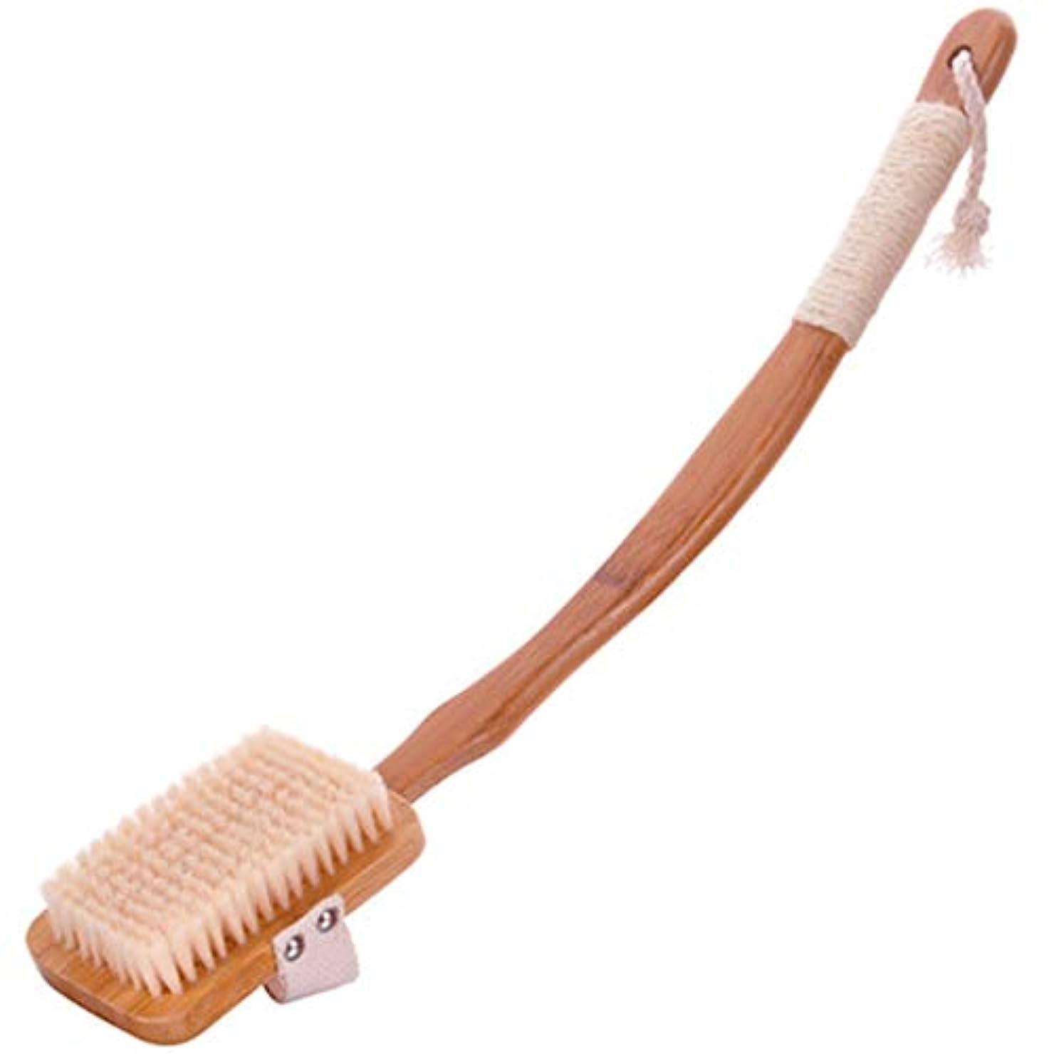 エレメンタル統治するボクシングバスブラシバックブラシロングハンドルやわらかい毛髪バスブラシバスブラシ角質除去クリーニングブラシ (Color : Wood color)