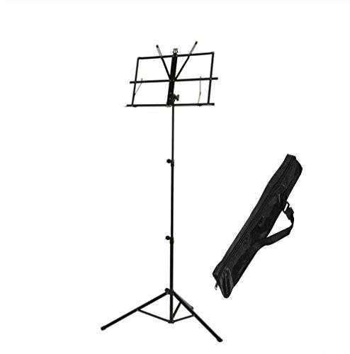 KuGi 譜面台 軽量 折りたたみ式 スタンド 高度調整でき 収納ポーチ付き ギター/チェロ/クラッシネット/フルートなど学習/演奏に対応 持ち運び便利 ブラック
