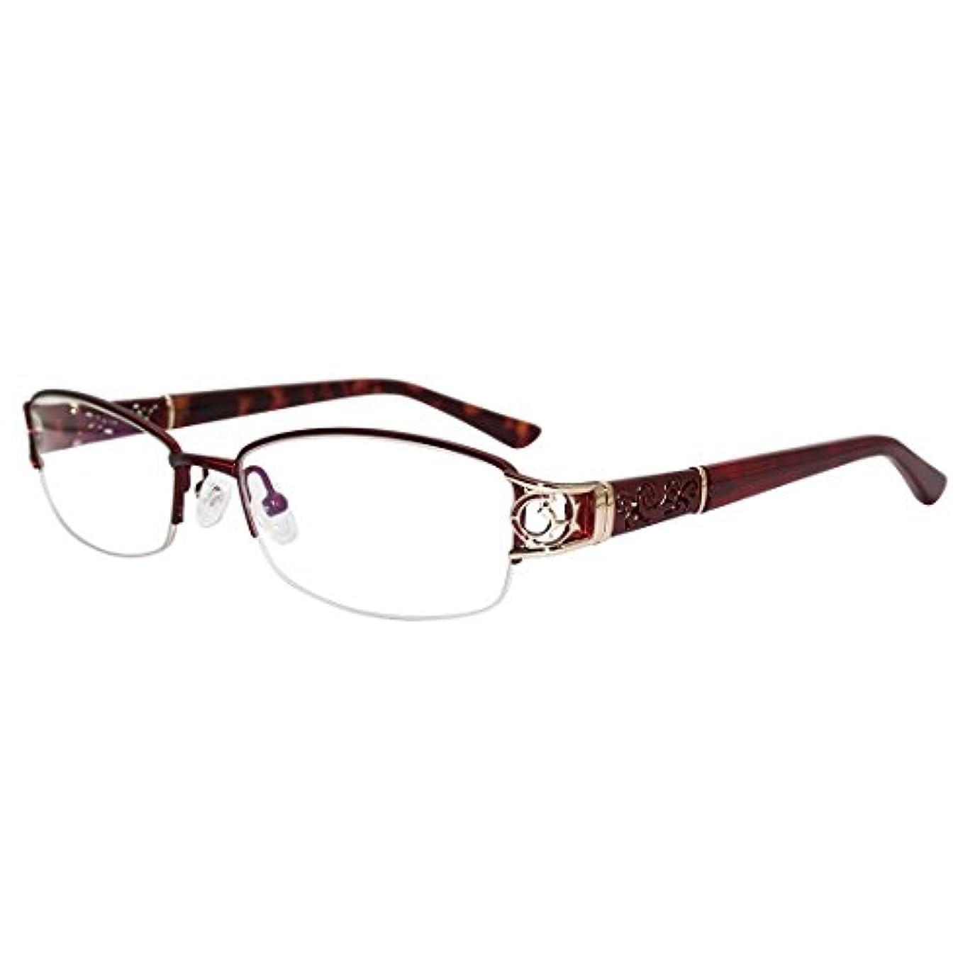 三角灰種類女性伊達メガネ ハーフリム オシャレ精巧眼鏡フレーム金属製レディーズアイウェア ケース付き