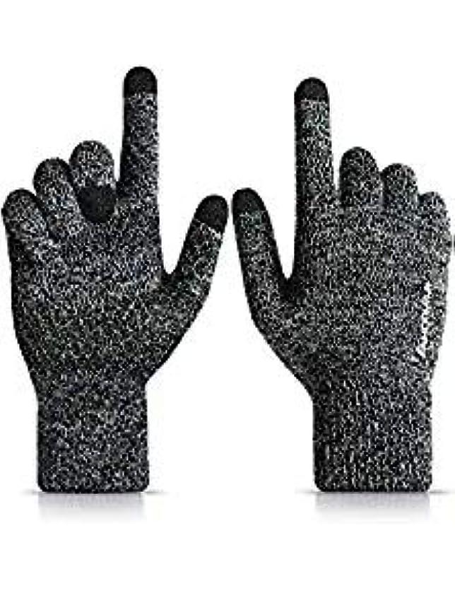 倫理ミュートスピーカー男性と女性のためのニット冬のタッチスクリーン手袋 - 暖かい柔らかいライニング - 滑り止めグリップ - 伸縮性カフ