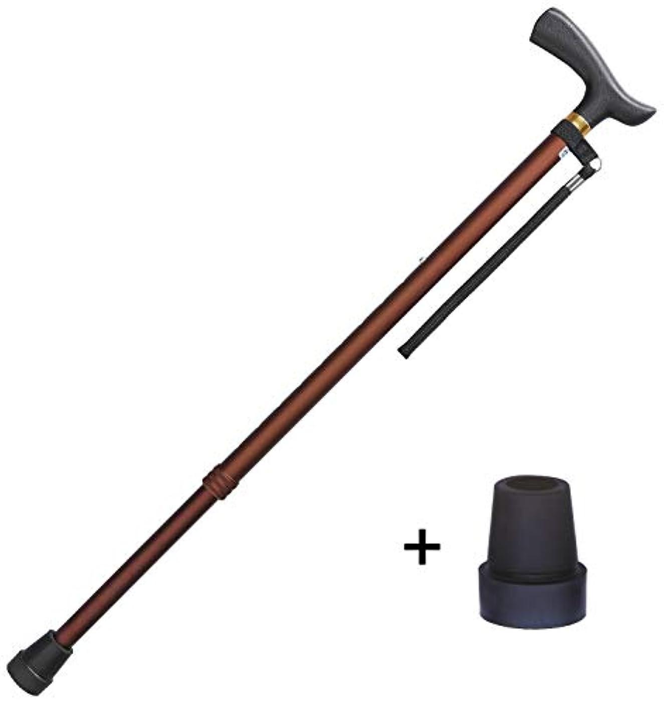 スカウトちなみにヘッドレスフジホーム ステッキ ブラウン 対応身長140~185cm ベーシック 伸縮式ステッキ S?M兼用 杖 (替えゴム付き) WB3901