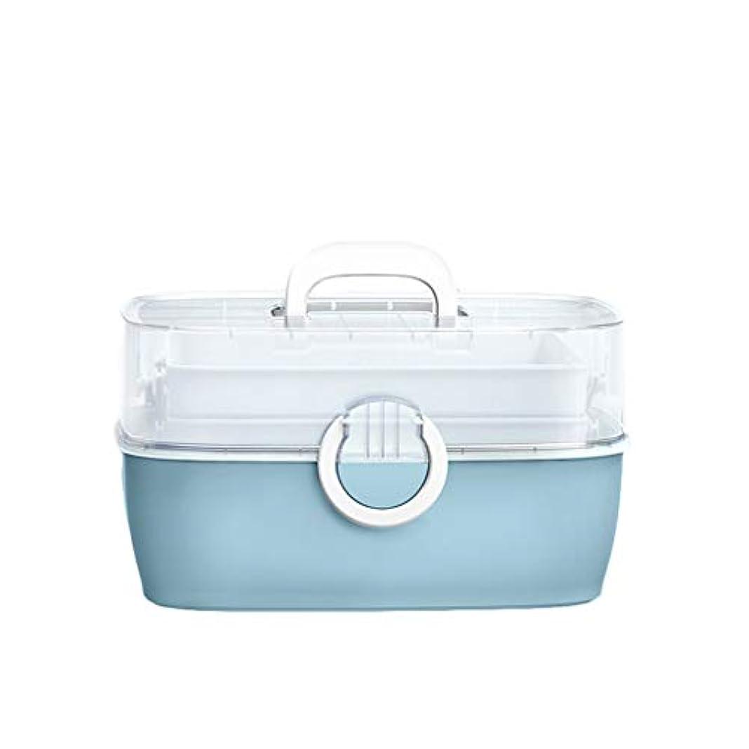 民間ジェット倍率家庭用薬箱多層児童家庭用薬収納ボックスポータブル外来応急処置 HUXIUPING (Color : Blue)
