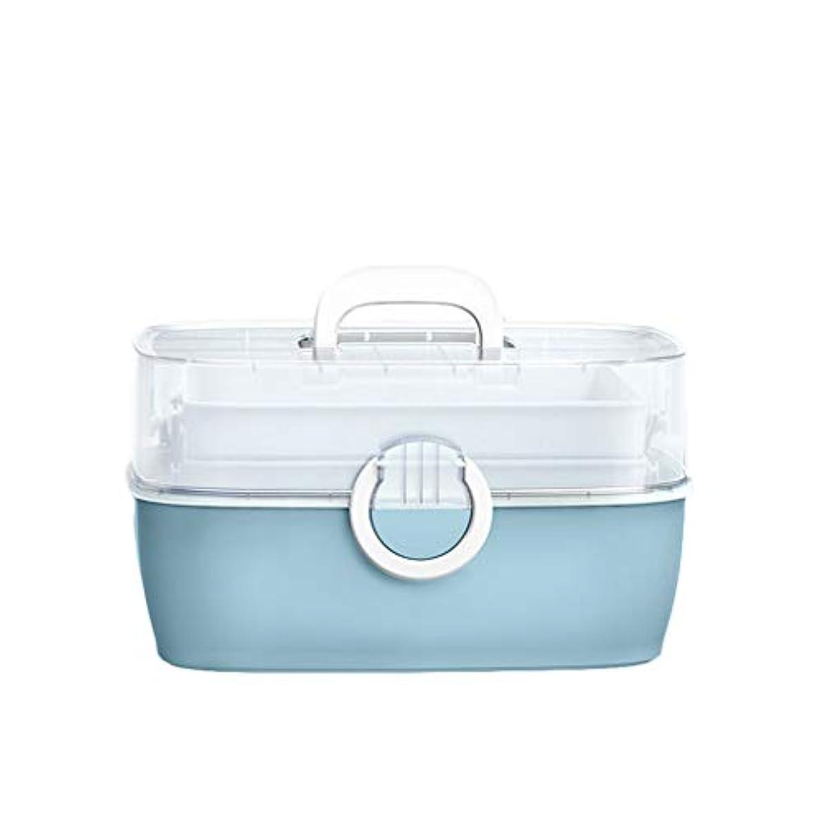 繁殖穀物バッテリー家庭用薬箱多層児童家庭用薬収納ボックスポータブル外来応急処置 HUXIUPING (Color : Blue)