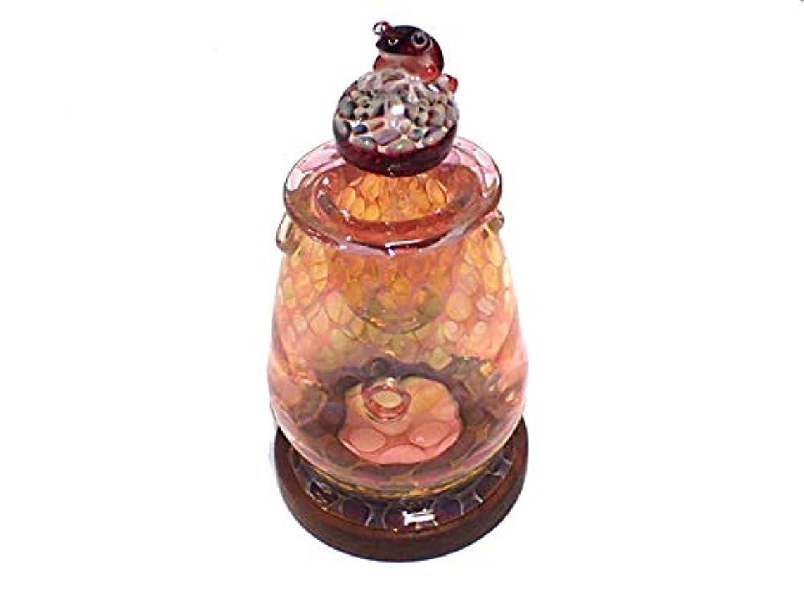 別々にリム咲く『 アロマポット Frog on a Mshuroom 四 (台付き)』【 kengtaro ケンタロー 】 キノコ カエル 一点もの ボロシリケイトガラス 職人 作家 蛙 かえる フロッグ 高級 お香 リラックス
