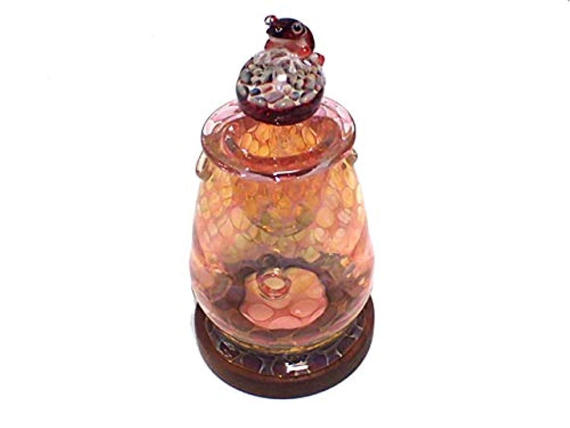 顎ミトン混雑『 アロマポット Frog on a Mshuroom 四 (台付き)』【 kengtaro ケンタロー 】 キノコ カエル 一点もの ボロシリケイトガラス 職人 作家 蛙 かえる フロッグ 高級 お香 リラックス