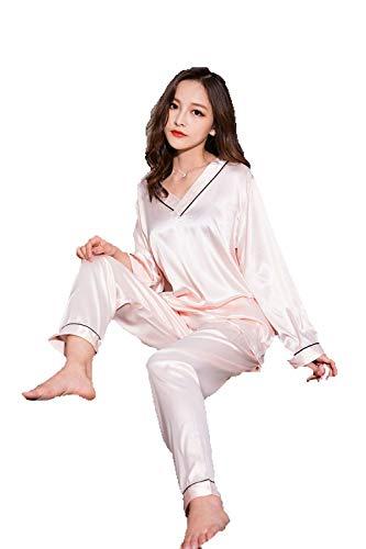 シルク パジャマ レディース 光沢あり 心地よい肌さわり 通気性 上下セット ルームウェア エレガント 寝巻き 部屋着 (XL, ピンク) おまけ付き