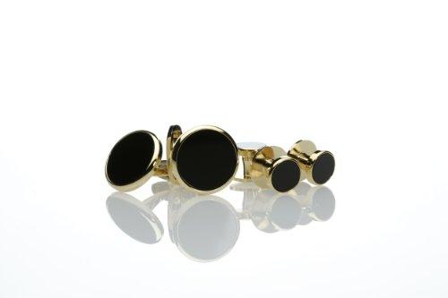 スタッド ボタン 単品 天然石 オニキス 黒 使用 タキシード スダッド のみ (ゴールド丸型) F-1S スタッドのみ