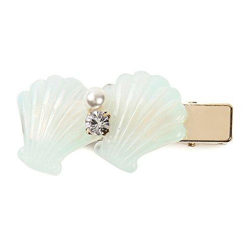 ゴールド メタル パール ラインストーン シェル ヘアクリップ [ミントグリーン] レディース 女性用 シンプル 真珠 貝殻