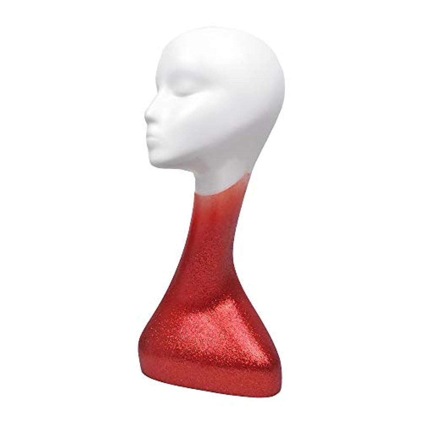 スカーフ欠員レンチメガネ帽子ウィッグスカーフ用プロフェッショナルアート女性マネキンヘッドABSスキンマネキンモデルプラスチック,Red