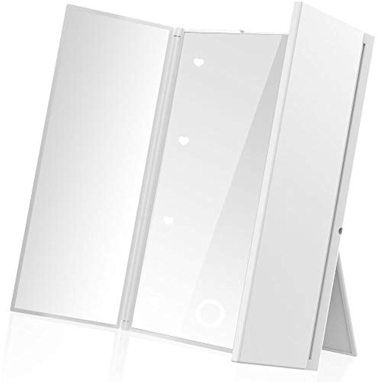 本当のことを言うと国内の教義LEEPWEI 鏡 卓上 スタンドミラー 三面鏡 化粧鏡 メイクミラー折りたたみ式 コンパックトLEDライト付き 電池型 持ち運び便利 (ホワイト)