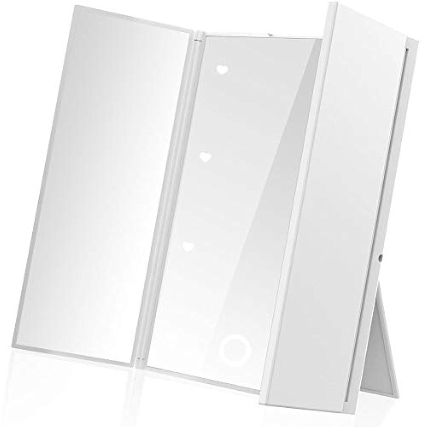 リラックスやりすぎ取るLEEPWEI 鏡 卓上 スタンドミラー 三面鏡 化粧鏡 メイクミラー折りたたみ式 コンパックトLEDライト付き 電池型 持ち運び便利 (ホワイト)