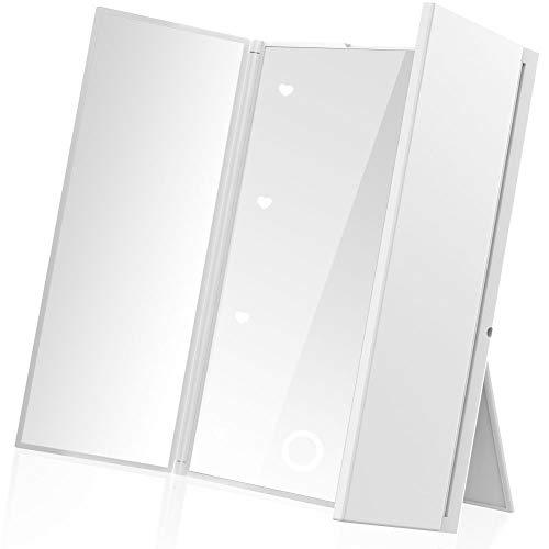 鏡 卓上 スタンドミラー 女優ミラー 三面鏡 化粧鏡 メイクミラー折りたたみ式 コンパックトLEDライト付き 電池型 持ち運び便利 (ピンクゴルード)