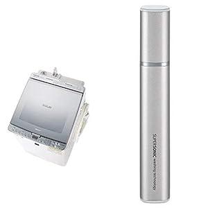 シャープ SHARP タテ型洗濯乾燥機 ガラストップ ダイヤカット穴なし槽 シルバー系 ES-PX8C-S 超音波ウォッシャー シルバー系 セット