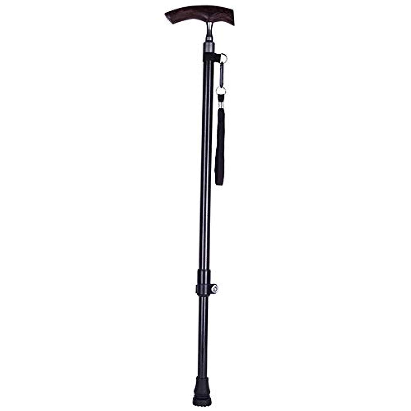 不十分な答え公使館歩く杖 プレミアムファッション高齢者調整可能な高さ杖、松葉杖カーボン木製ハンドル伸縮滑り止め耐久性、男性の女性の安全な杖屋外旅行ウォーキングサポート安定性 (Color : 黒)