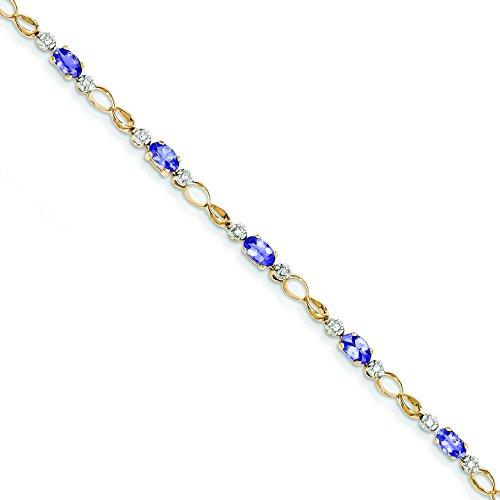 14 K完了open-linkダイヤモンド/タンザナイトブレスレット14 Kイエローゴールド