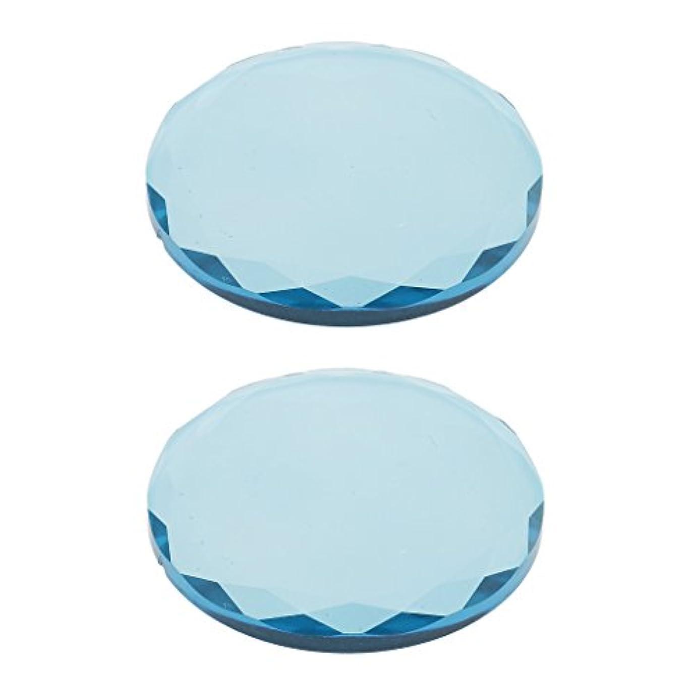 少しに負ける残りまつげ エクステンション用 2ピース クリスタル ガラス 接着剤 接着パレットホルダー 全2色選べ - 青