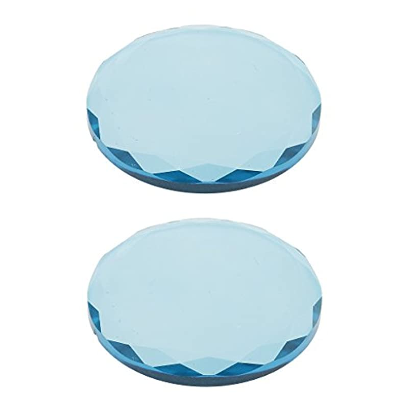インチ降雨パブまつげ エクステンション用 2ピース クリスタル ガラス 接着剤 接着パレットホルダー 全2色選べ - 青