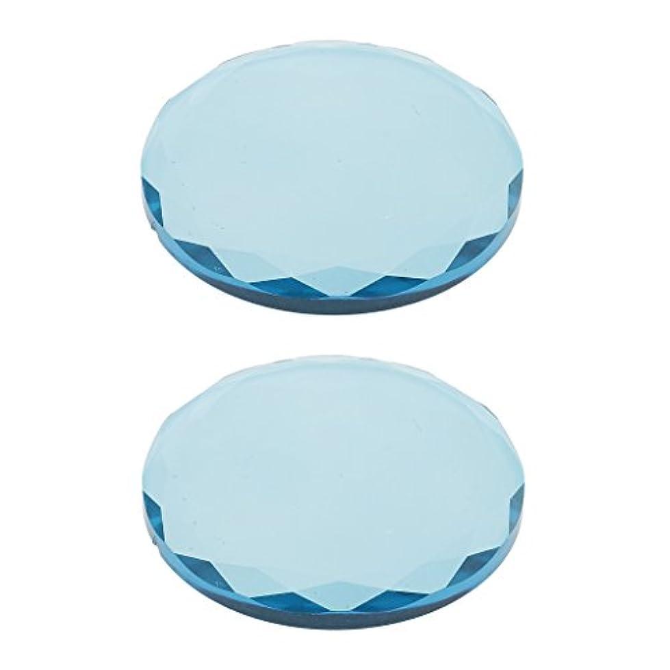 静かな燃やす水銀のまつげ エクステンション用 2ピース クリスタル ガラス 接着剤 接着パレットホルダー 全2色選べ - 青