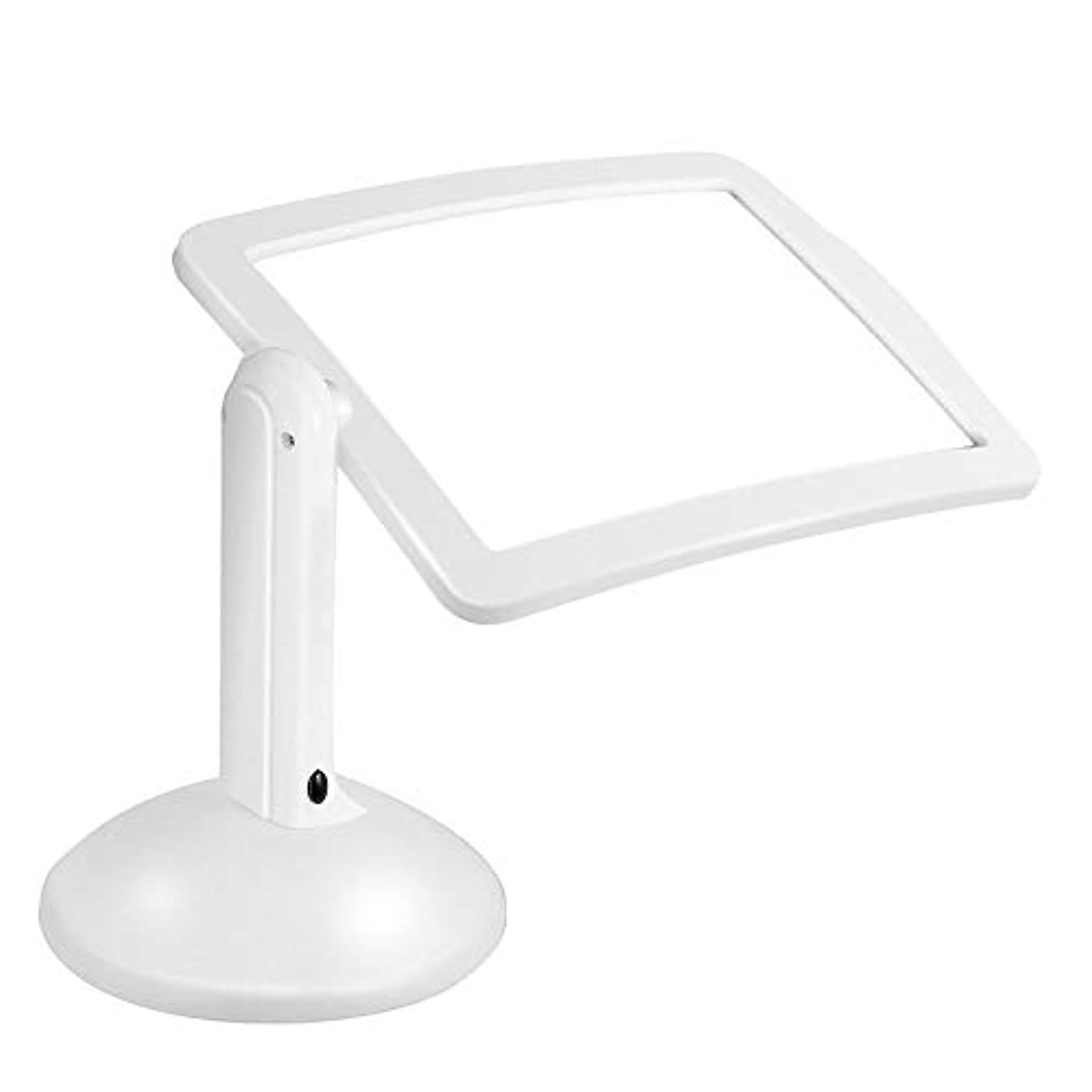 モデレータトリム視聴者360度回転ハンズフリー3倍拡大鏡2 LED拡大鏡テーブルライト(白)