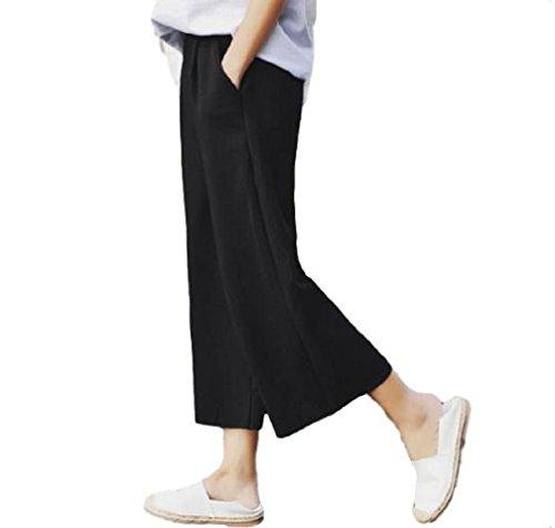 [kuro&Ardor] 大きい サイズ ワイド パンツ レディース 女性用 かわいい オシャレ オルチャン くるぶし 足首 8分丈 ボトムス ズボン スカンツ 春 (XL, ブラック)