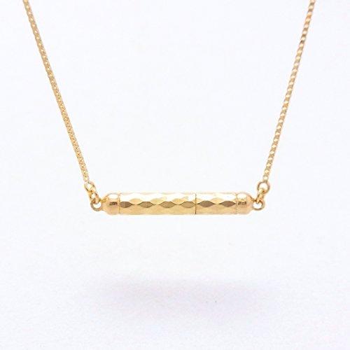 Mirror cut 18金製 K18 gold ゴールド (日本製 Made in Japan) (金属アレルギー対応) ミラー ライン マグネット ペンダント ネックレス ジュエリー (Amazon.co.jp 限定) [HJ] (40 センチメートル)