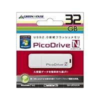【まとめ 3セット】 GREENHOUSE USBフラッシュメモリ ピコドライブN 32GB GH-UFD32GN