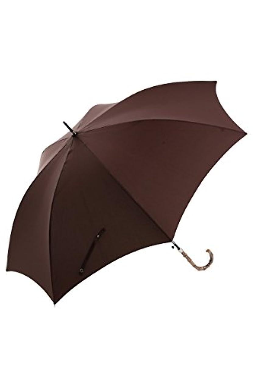 支給余計な財布UVカット晴雨兼用 スリム傘 持ち手寒竹 (茶)