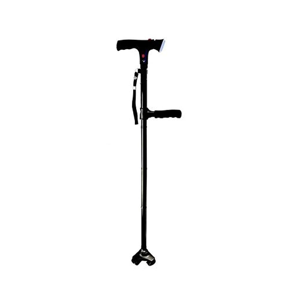 簡略化する排他的ステップ老人の杖多機能折りたたみポータブル杖ダブルターンアルミアラーム4フィートライトステッキ付