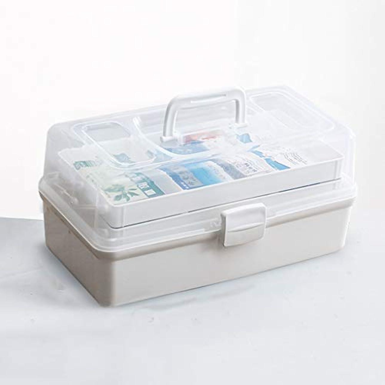黒くするギャラリー部族薬箱家庭用三層大容量医療薬収納ボックスポータブルデザイン調節可能パーティションブルー、ホワイト37×19×18 cm SYFO (Color : White)