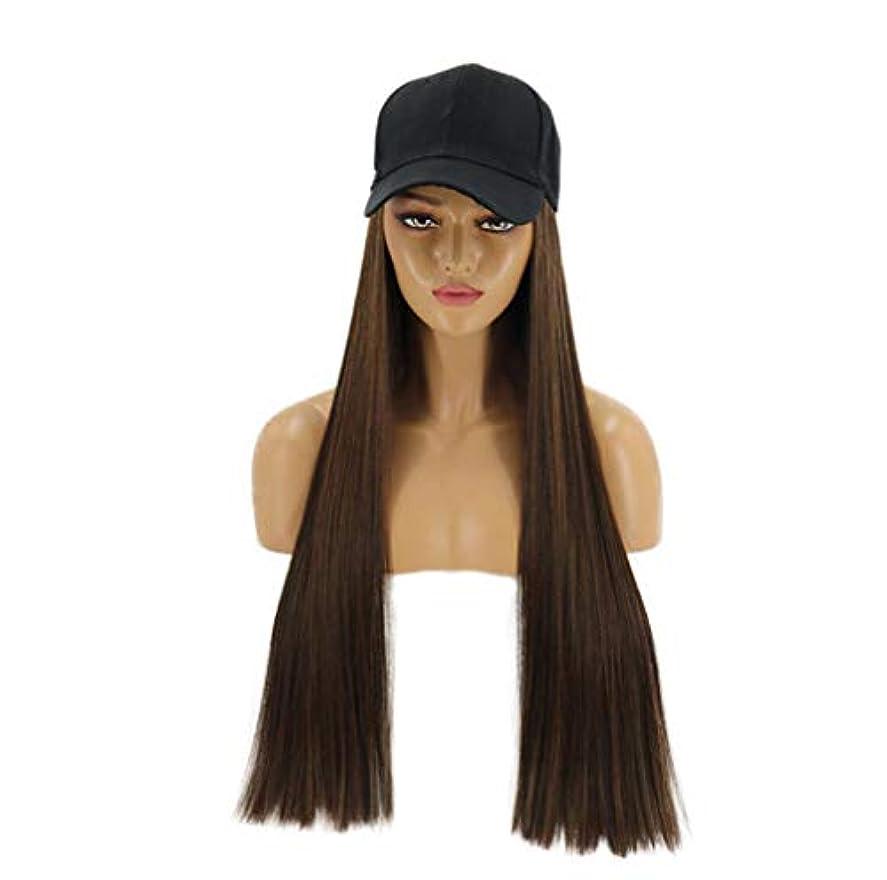 折クラッシュどれでも調節可能な黒の野球帽が付いた人工毛エクステンション付きの女性のナチュラルロングストレートウィッグ
