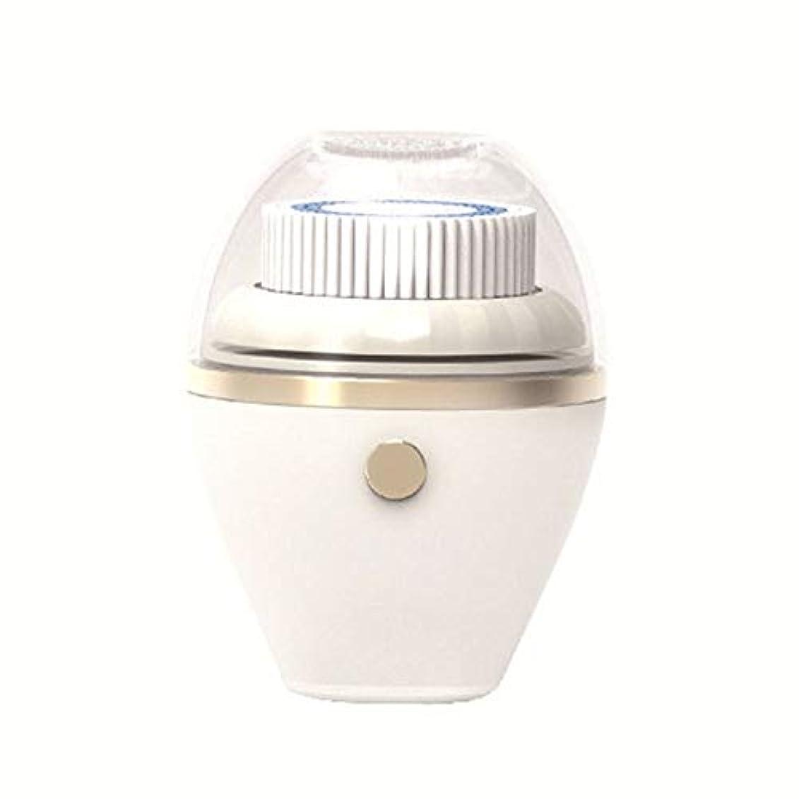 説教する湖天洗顔ブラシ 振動洗顔ブラシ - フェイスクリーニングエクスフォリエイティングそしてマッサージの充電防水ワイヤレスで3つのブラシヘッド (色 : 白, サイズ : 11.7*9.55*6.2CM)