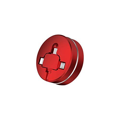SOSU 3-in-1多機能usb巻取り式充電ケーブル 五段階調節 急速充電 高速データ転送 に適用するiOS &Android 携帯電話/タタブレットPC/電子機器 1m (レッド)