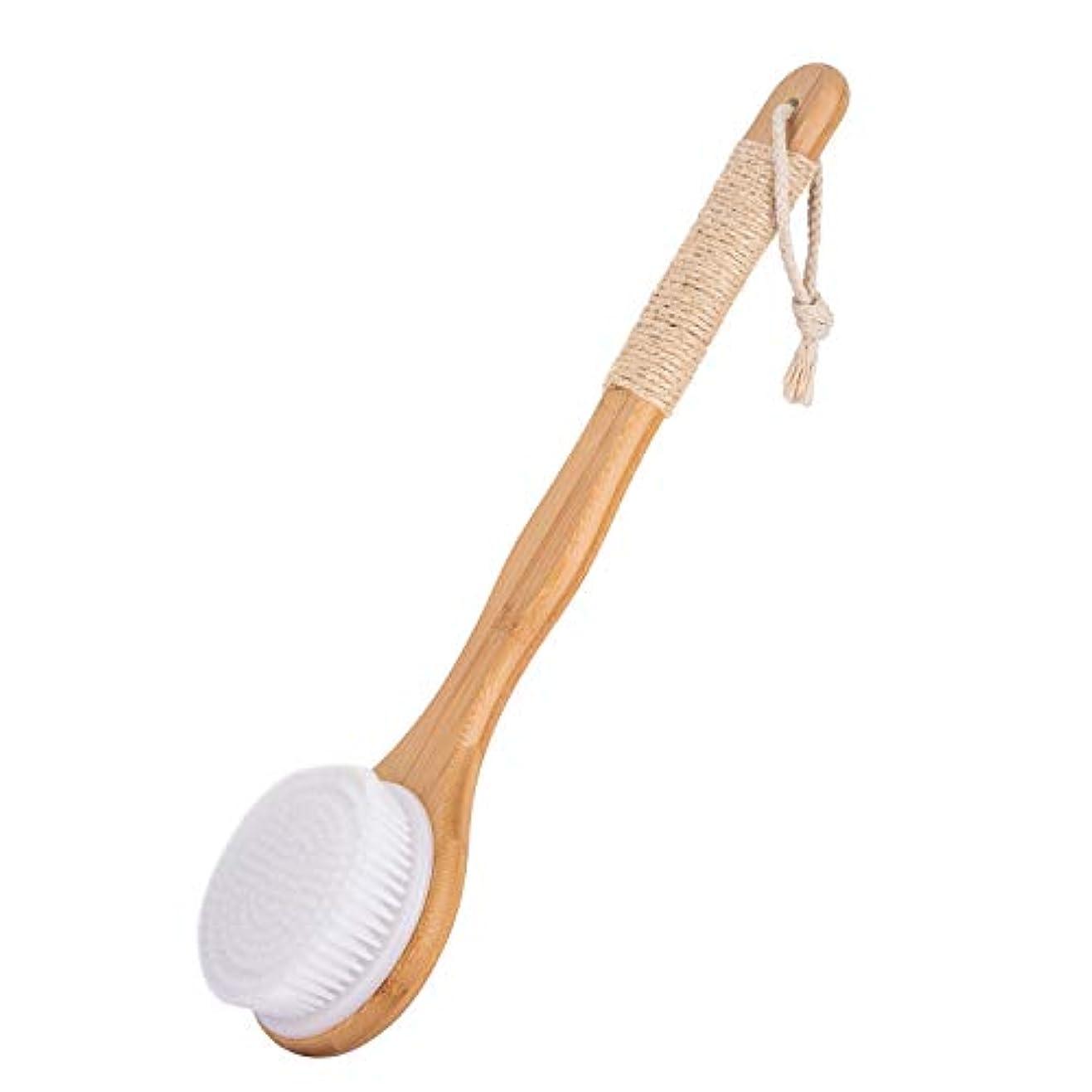 人ジョージバーナード聖なるボディブラシ 体洗いブラシ 繊維毛 ロング お風呂用 竹製長柄