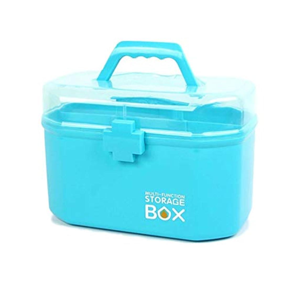 薬箱、家庭用携帯用ポータブル薬収納ボックス、上下層、ハンドルデザイン、小フットプリント