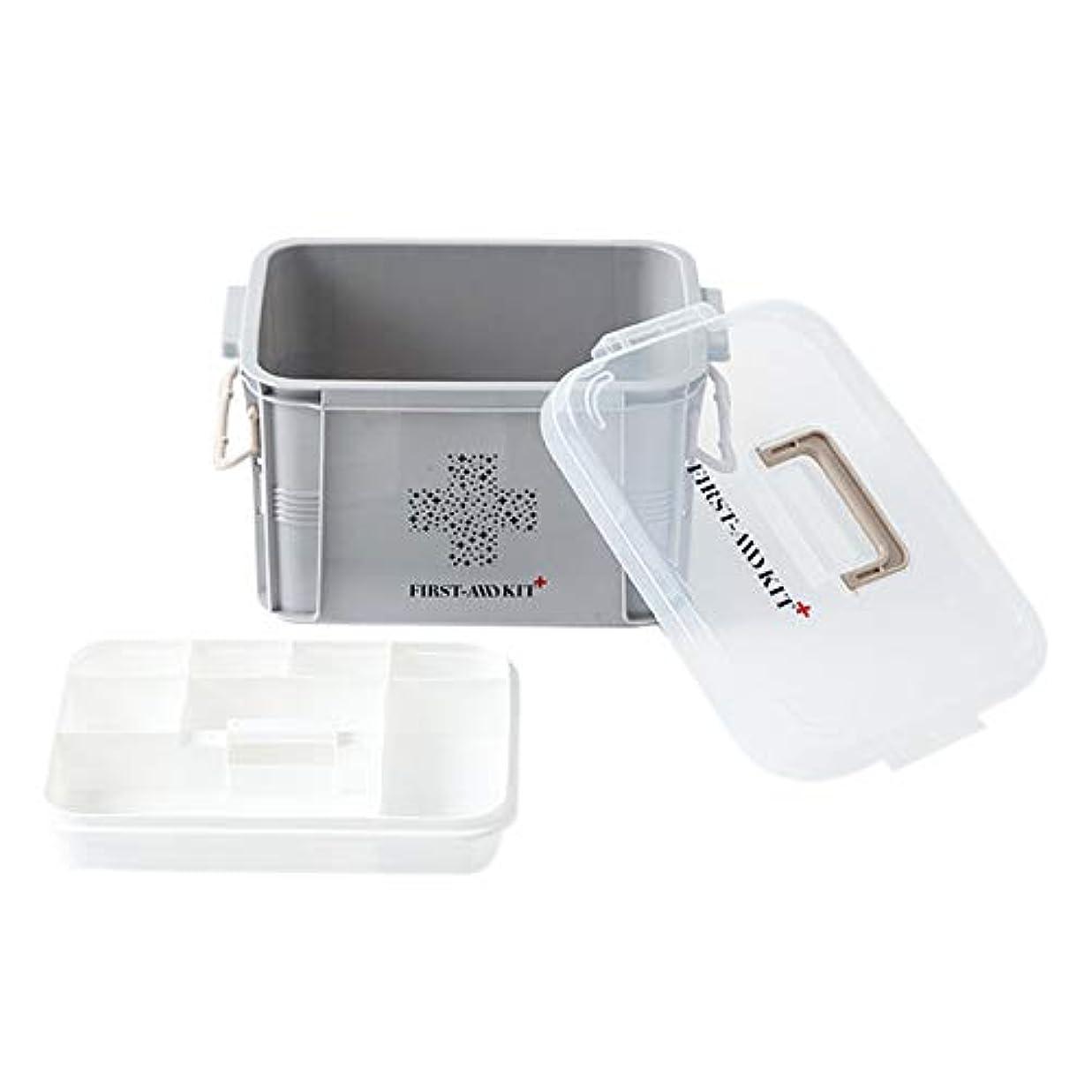 CUHAWUDBA プラスチック製医療ボックス、収納容器、多層医療箱、北欧家庭用整理ボックス(Sグレー)