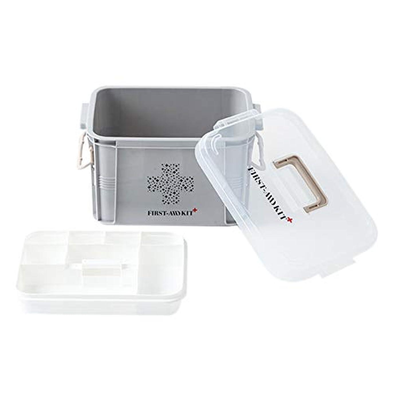 コンテスト名詞フリッパーTOOGOO プラスチック製医療ボックス、収納容器、多層医療箱、北欧家庭用整理ボックス(Sグレー)