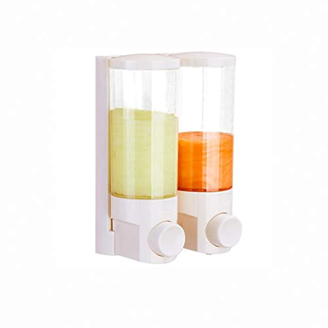 居心地の良い毒液石のせっけん 石鹸ディスペンサー泡立てボトル洗顔器シャンプーシャワージェル分配ハンドサニタイザーボックスプレス壁掛け用オフィスバスルームキッチンダブルヘッド 新しい