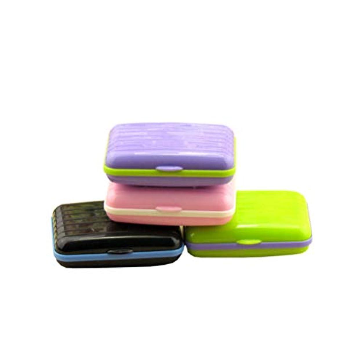 ドローワイヤー面白いFrcolor コンタクトケース コンタクトレンズケース ピンセット プラスチック製 持ち運びやすい トラベル 軽量 保存ケース 4個セット(紫+ピンク+黒+緑)