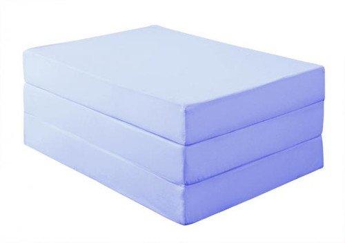新20色 厚さが選べるバランス三つ折りマットレス(12cm・ダブル) パウダーブルー【ノーブランド品】
