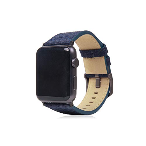 SLG Design Apple Watch 42mm 44mm用 バンド キャンバス地 本革 Wax Canvas ネイビー