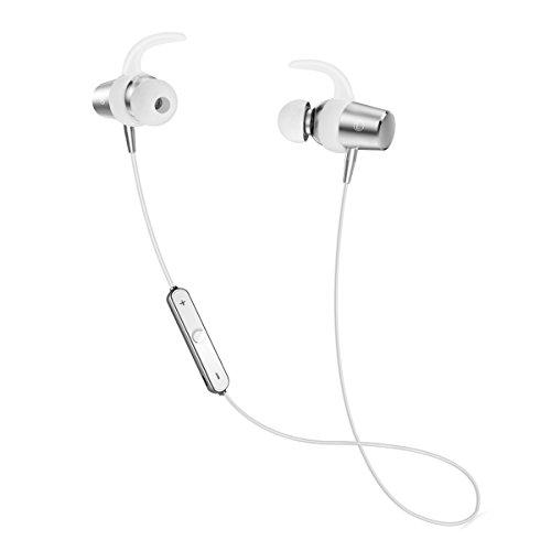 ブルートゥース イヤホン スポーツ仕様 Bluetooth イヤホン マグネット ON/OFF機能搭載 ワイヤレス ヘッドホン カナル型 高音質 APT-X対応 内蔵マイク 防水 防塵 防汗 片耳 両耳 iPhone/Android (シルバー)