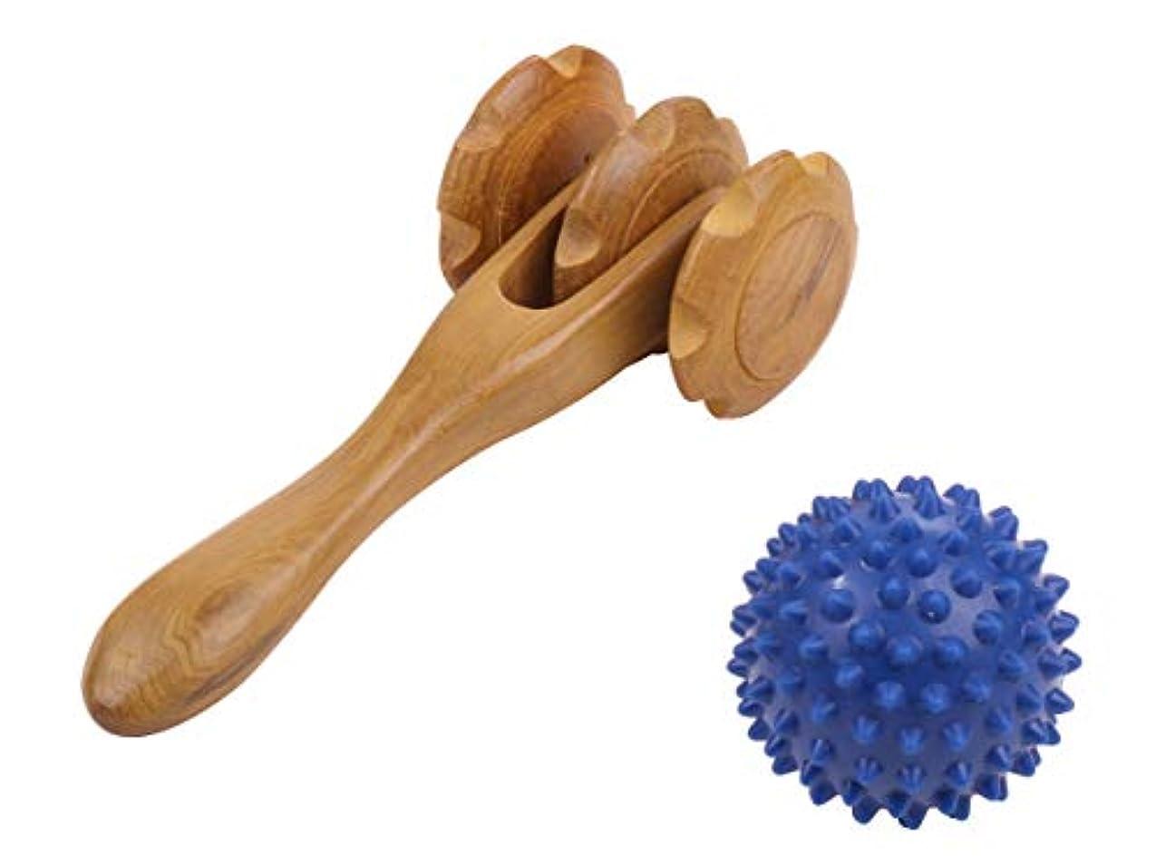 革命的空中トンネル筋膜 筋肉ほぐし 用 木製 マッサージローラー 指圧ボール 付 血行促進 肩こり 足のむくみ 解消