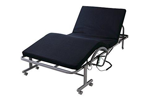 低反発 メッシュ仕様 電動 リクライニングベッド ベッド 折りたたみ 折りたたみベッド (シングル, ネイビー)