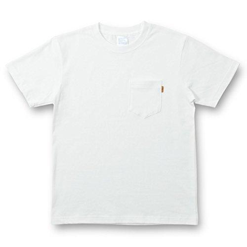 (ジーンズバグ)JEANSBUG 革タブ付 ポケT オリジナル 本革 タブ アクセント 半袖 無地 ポケット Tシャツ メンズ レディース 大きいサイズ PKST-L1 M シロ(1)