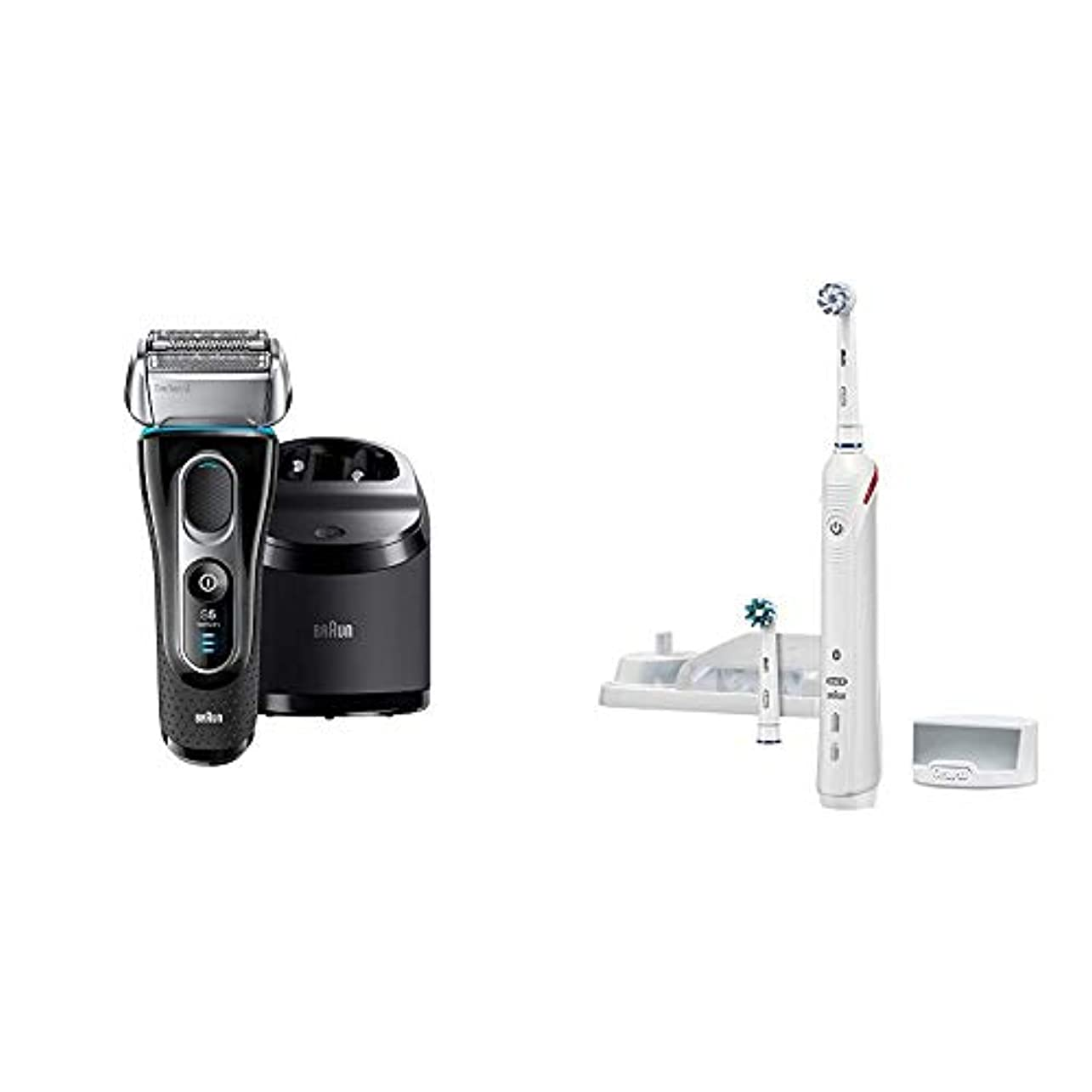 ホーン圧縮された囲むブラウン シリーズ5 メンズ電気シェーバー  5197cc 4カットシステム 洗浄機付 水洗い可 & オーラルB 電動歯ブラシ スマート4000 D6015253P