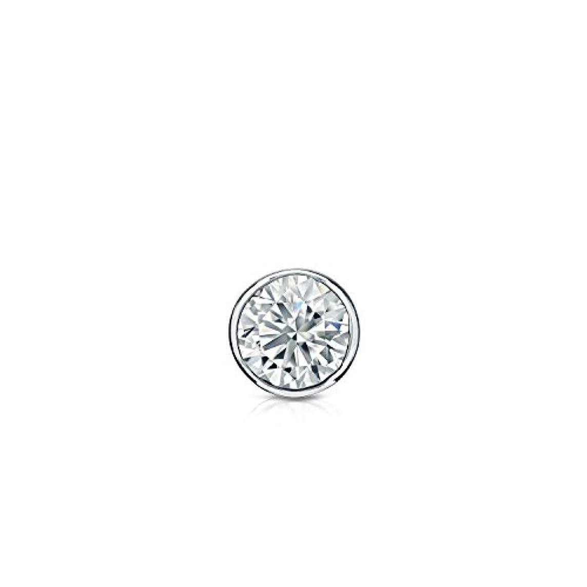 ペストリーブルジョンプレゼンター18 Kゴールドbezel-setラウンドダイヤモンドシングルスタッドイヤリング( 0.08ct、Good、si1-si2 ) screw-back